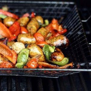 Chicken Sausage, Green Peppers, Red Peppers and Tomatoes in a Grill Pan