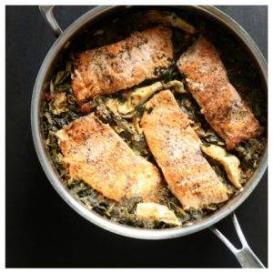 One Pan Salmon with Spinach and Artichokes