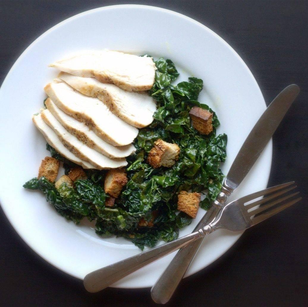 Warm Kale Caesar Salad