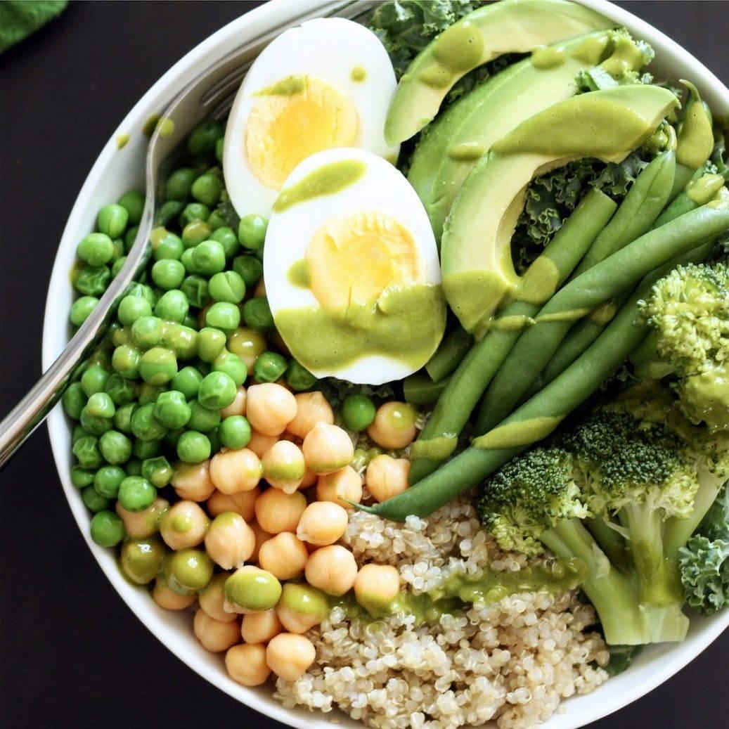 Green Quinoa Bowls with Basil Vinaigrette