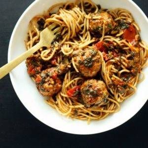 Pasta with Tomatoes, Spinach and Sausage Meatballs