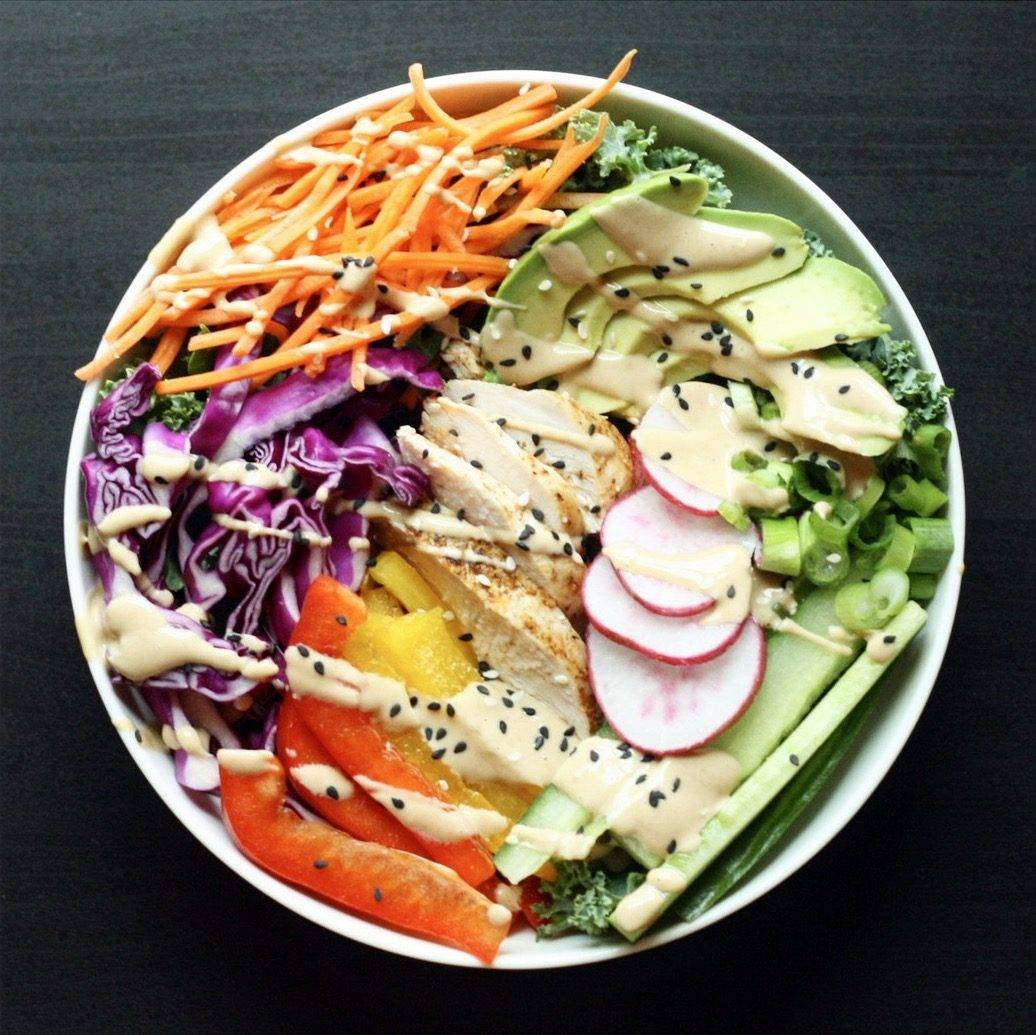 Asian Spring Roll Bowls with Peanut Sauce