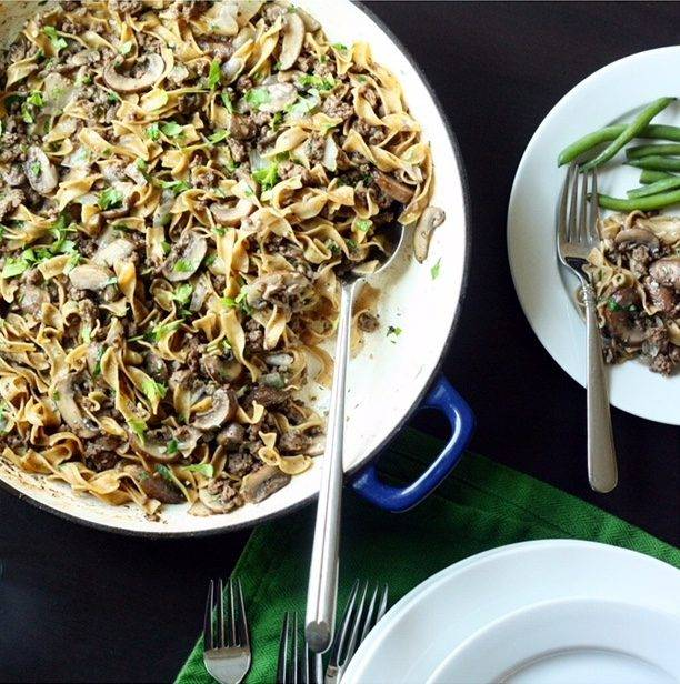 Savory One Pan Beef and Mushroom Noodles