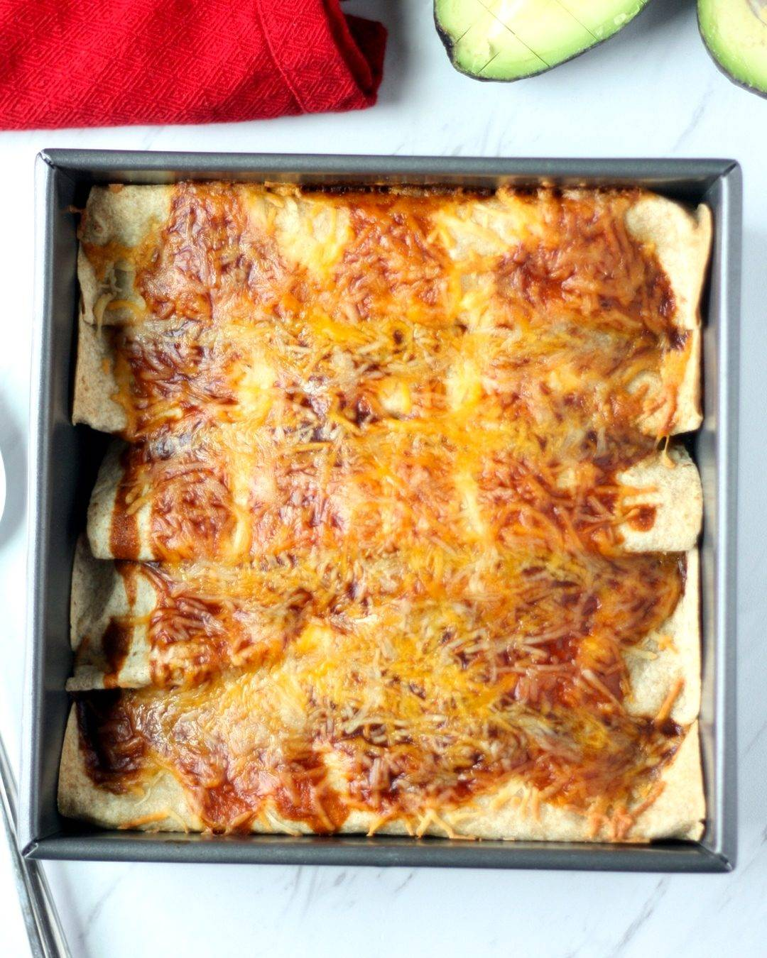 Pan with Enchiladas Made with Leftover Chicken