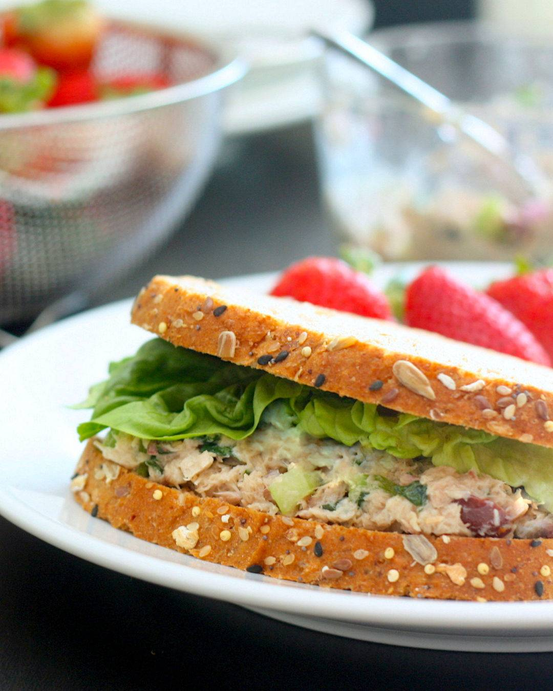 Tuna Salad Sandwich on Plate with Strawberries