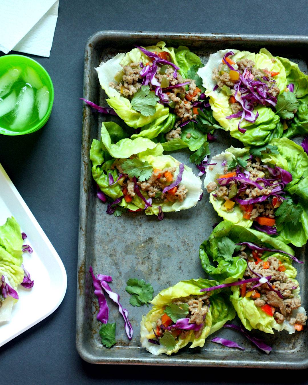 Serving pork lettuce wraps on a sheet pan