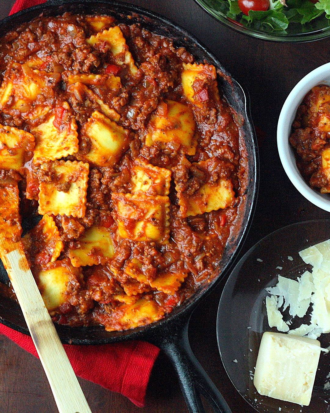 One Pan Ravioli with Easy Meat Sauce