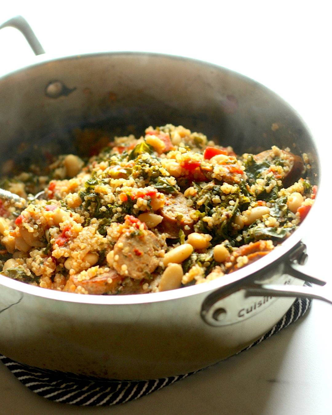 One Pan Quinoa with Chicken Sausage and Kale