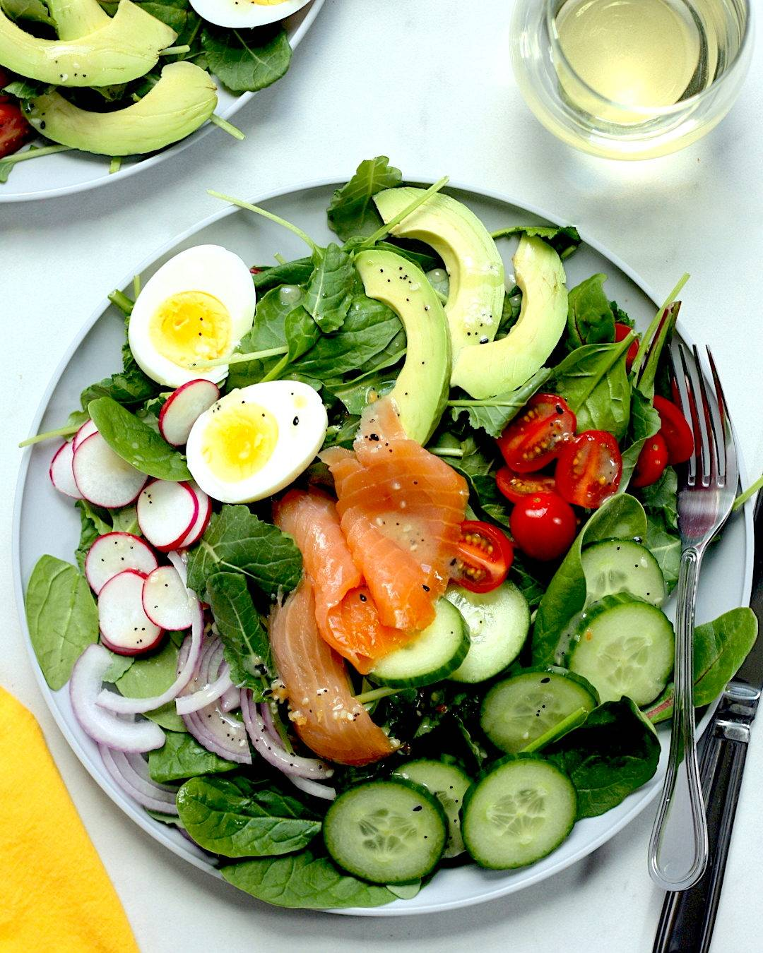 Smoked Salmon Cobb Salad with Everything Bagel Vinaigrette