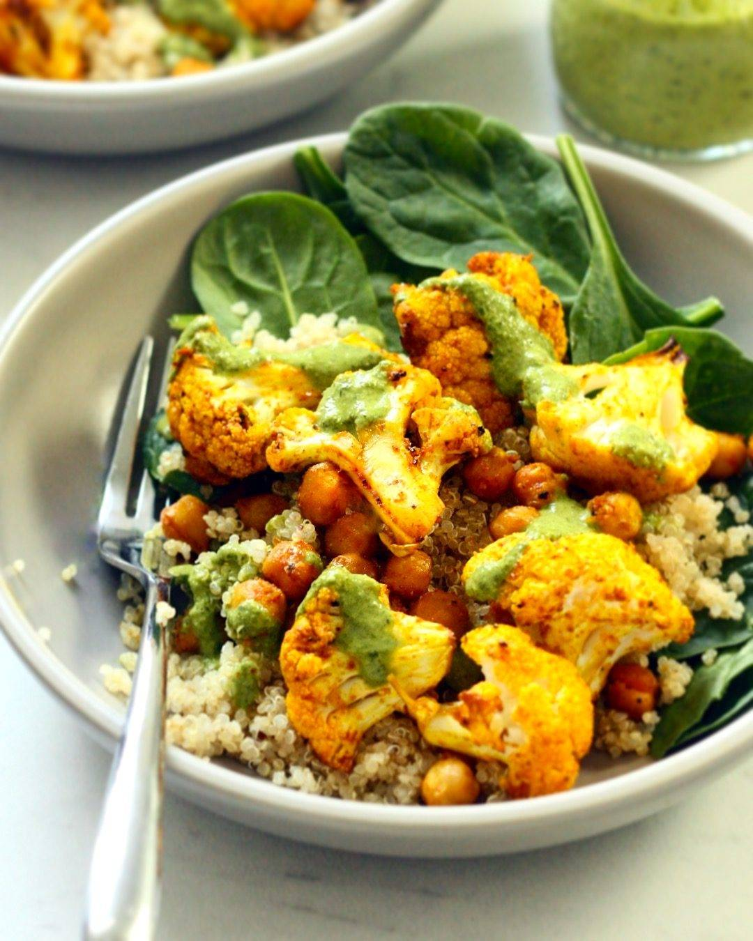 Golden Cauliflower Bowls w/ Lemon Parsley Vinaigrette