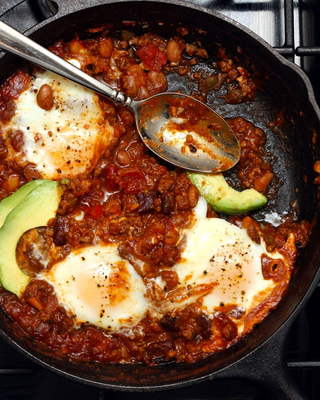 Leftover Chili Baked Eggs
