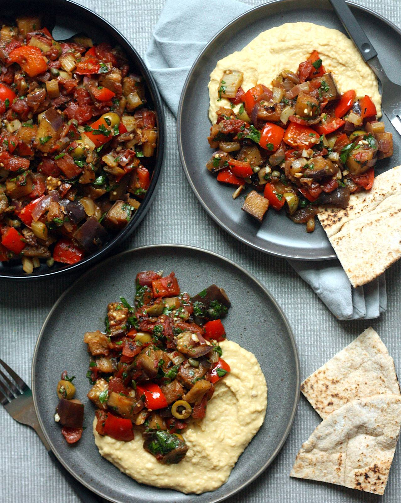 Eggplant Caponata with Roasted Garlic Hummus