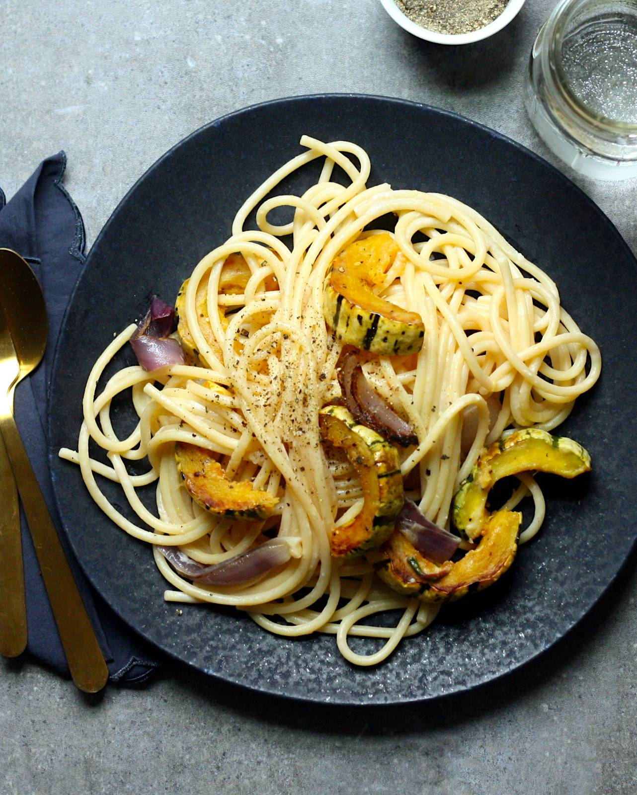 Roasted Delicata and Goat Cheese Pasta