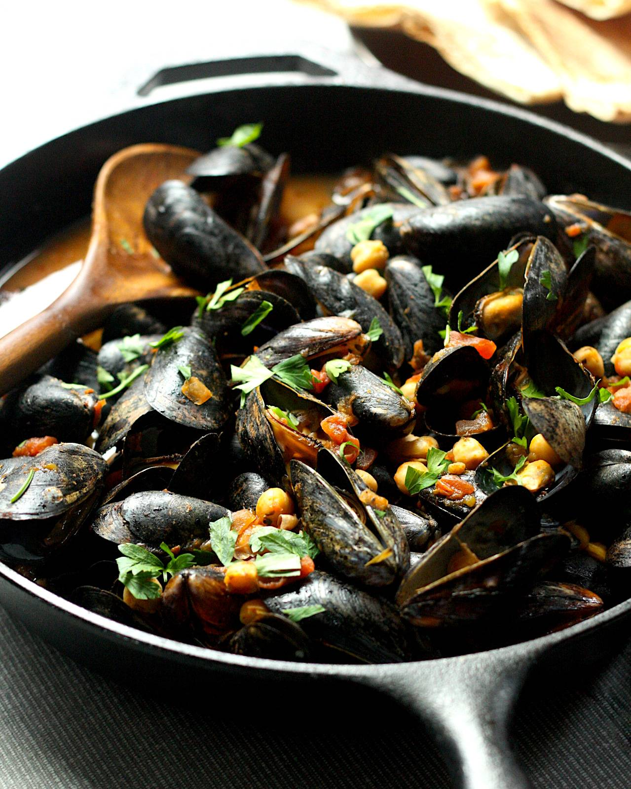 Moroccan Mussels and Chickpeas in Spiced Tomato Broth