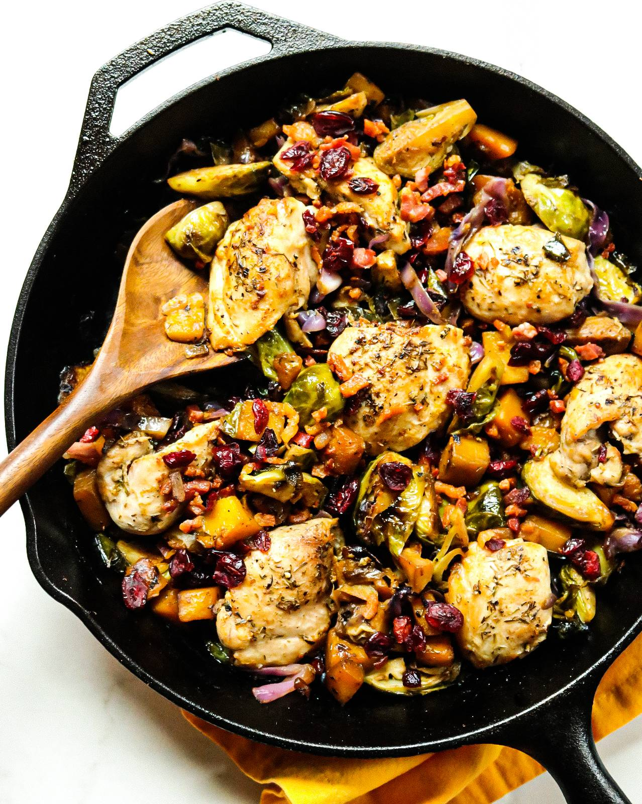 One Pan Chicken Skillet with Kabocha Squash, Brussels sprouts and Pancetta