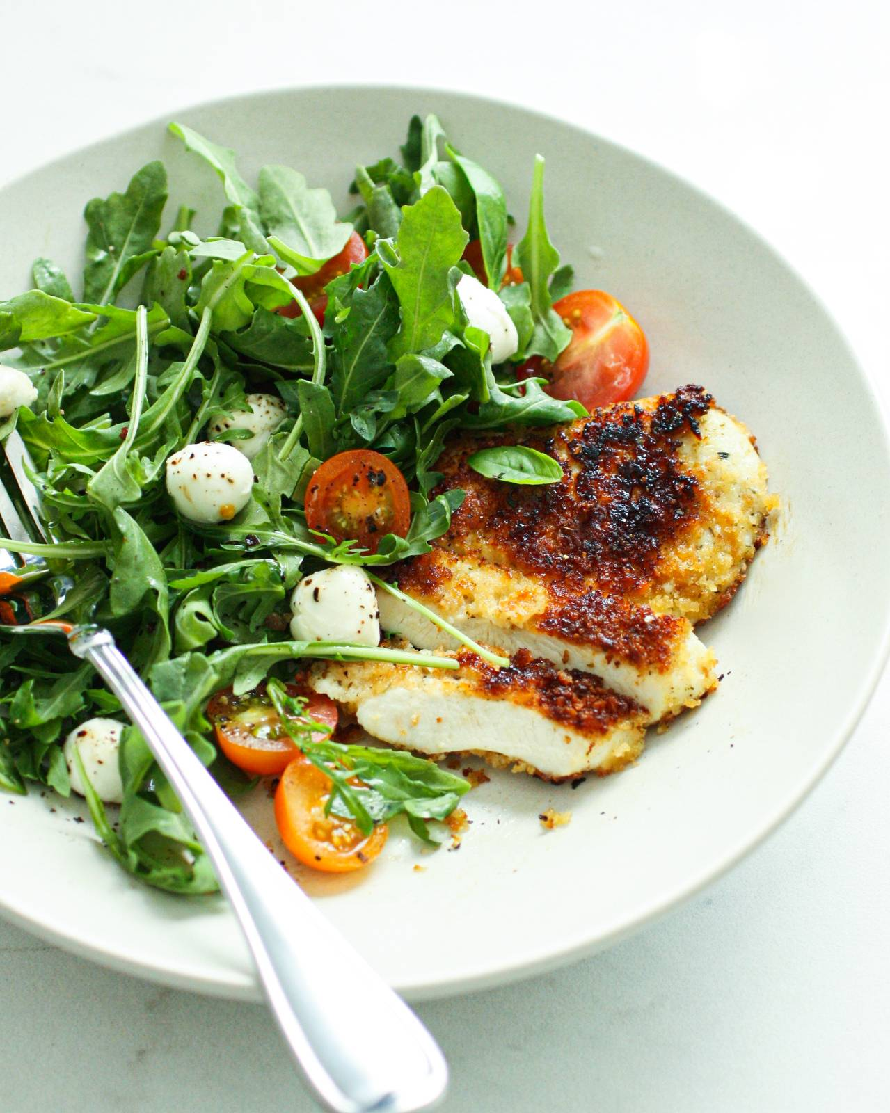 Summer Chicken Parmesan with Arugula Tomato Salad
